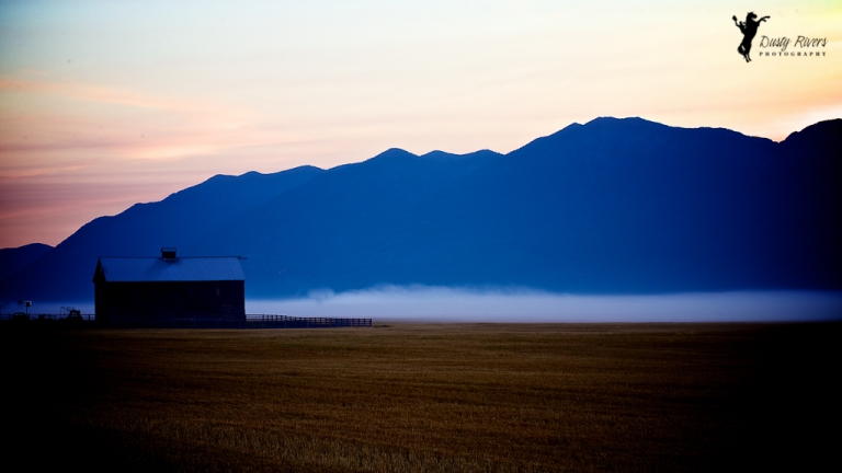 Blue Sunrise on a farm Kalispell Montana USA dustyriversphotography