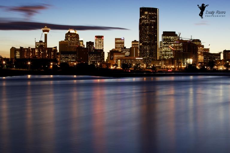 Bow River, City Skyline, night shot, yyc, Calgary, dustyriversphotography