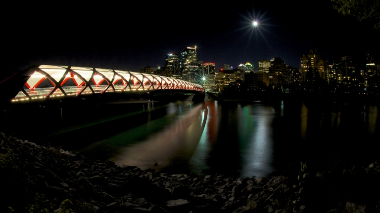Peace Bridge at night yyc Calgary Alberta Canada dustyriversphotography