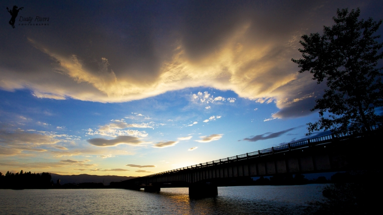 Sunset behind a bridge Kalispell Montana USA dustyriversphotography