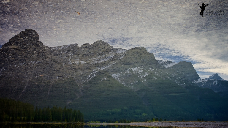 upside down mountain, reflection, Spray Lakes, Canmore, Alberta, Canada, dustyriversphotography