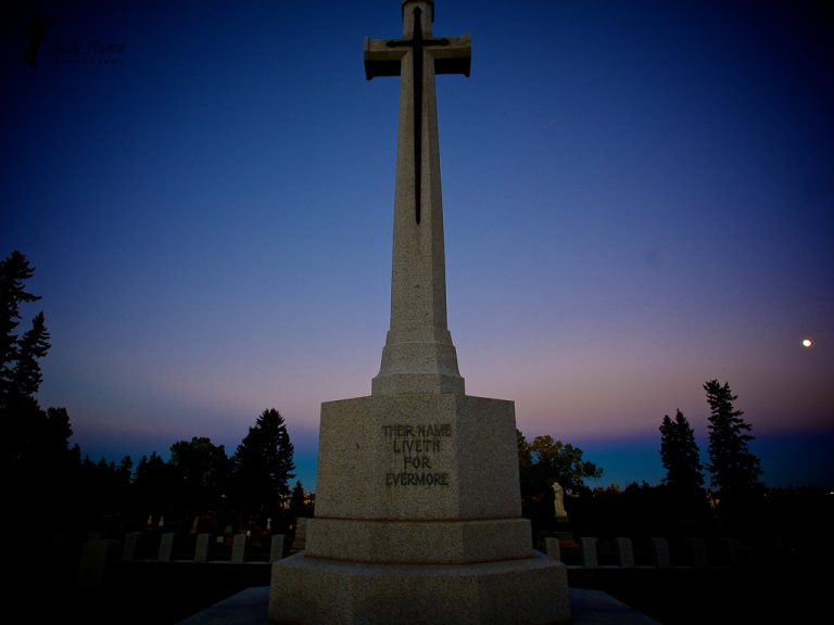 War Memorial Gravestone statue full moon sunset Union cemetery Calgary Alberta Canada dustyriversphotography