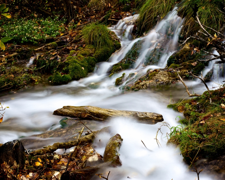 misty waterfall, autumn, Big Hill Springs Park, Alberta, Canada, dustyriversphotography