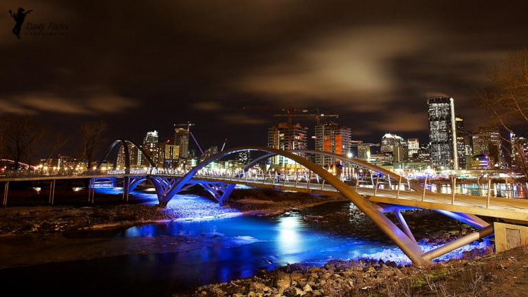 The Skipping Stone Bridge, St. Patricks Bridge, The Bow Building, Downtown Calgary, Calgary, bow river, yyc, night shot, landscape, Alberta, Canada, dustyriversphotography
