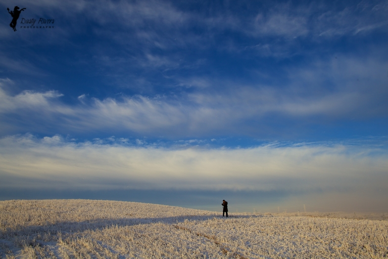 Guy in a snowy field, wide angle, landscape, Rockyview County, Calgary, yyc, Alberta, Canada, dustyriversphotography