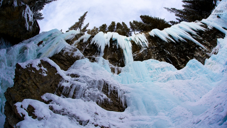Johnston Canyon Waterfall, Johnston Canyon, frozen, ice, ice climber, fisheye lens, Banff, yyc, Alberta, Canada, dustyriversphotography