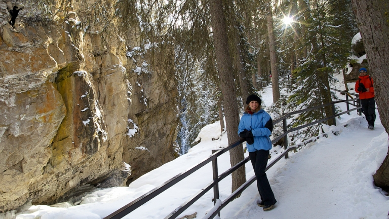 Johnston Canyon Waterfall, Johnston Canyon, frozen, model posing on the trail at johnston canyon, Banff, yyc, Alberta, Canada, dustyriversphotography