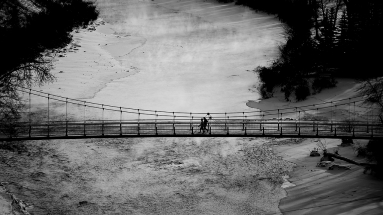 pedestrian bridge, Elbow River, Black and white, Calgary, yyc, Alberta, Canada, dustyriversphotography