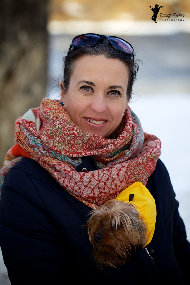 A lady and her dog, Sandy Beach Park, toy terrier, winter, Calgary, yyc, Alberta, Canada, dustyriversphotography