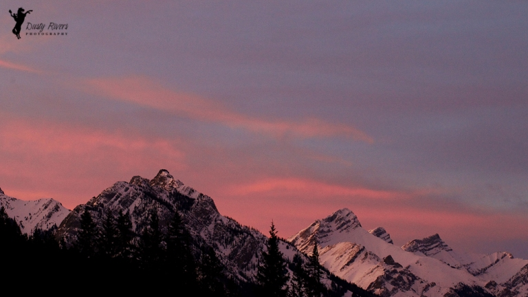 Banff, Sunset 2, mountains, pink sky, yyc, Alberta, Canada, dustyriversphotography