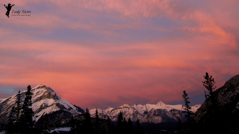 Banff, Sunset, mountains, pink sky, yyc, Alberta, Canada, dustyriversphotography