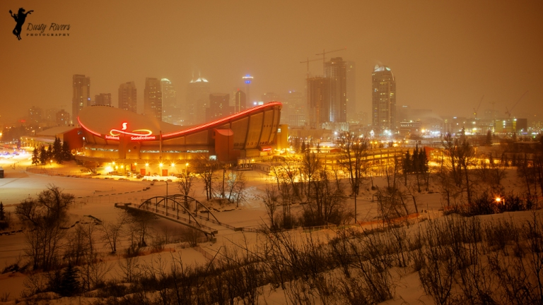 Calgary Saddledome, cityscape, snowy night, night shot, winter, downtown Calgary, Calgary, yyc, Alberta, Canada, dustyriversphotography
