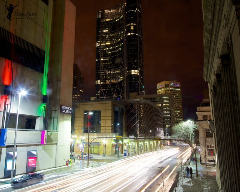 Downtown Calgary, night shot, The Bow Building, Glenbow Museum, Calgary, yyc, Alberta, Canada, dustyriversphotography