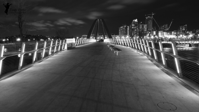 St Patricks Bridge, nighttime, city shot, black and white, Southern Alberta, canon, Calgary, yyc, Alberta, Canada, dustyriversphotography