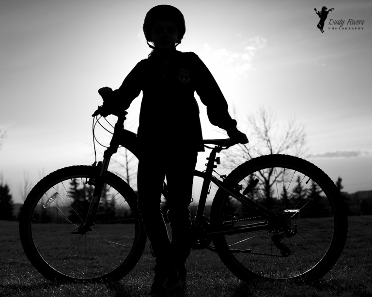 Bike rider silohuette, black and white, Calgary, yyc, Alberta, Canada, dustyriversphotography