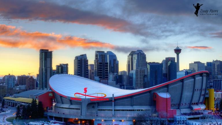 Wide angle Scotiabank Saddledome, HDR Downtown Calgary, Calgary, yyc, Alberta, Canada, dustyriversphotography