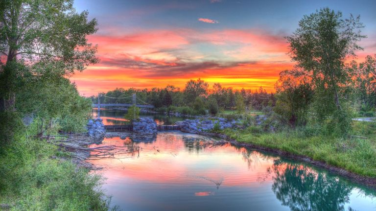 Princes Island Park 2, HDR, Sunset, Calgary, YYC, Dusty Rivers Photography, dustyriversphotography.com