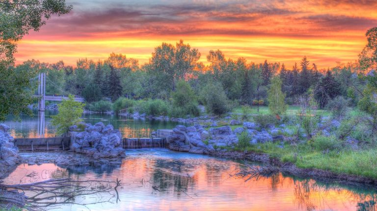 Princes Island Park, HDR, Sunset, Calgary, YYC, Dusty Rivers Photography, dustyriversphotography.com