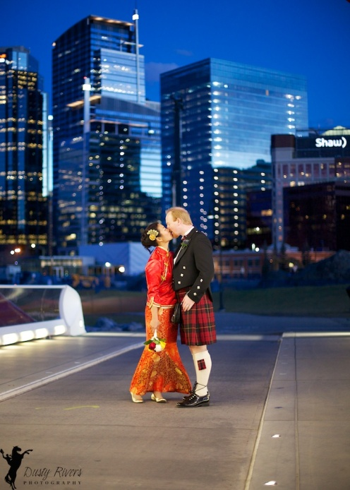 Calgary Wedding Photo, Peace Bridge, Scotsman, Chinese Lady, Downtown Calgary, YYC, Dusty Rivers Photography, dustyriversphotography.com