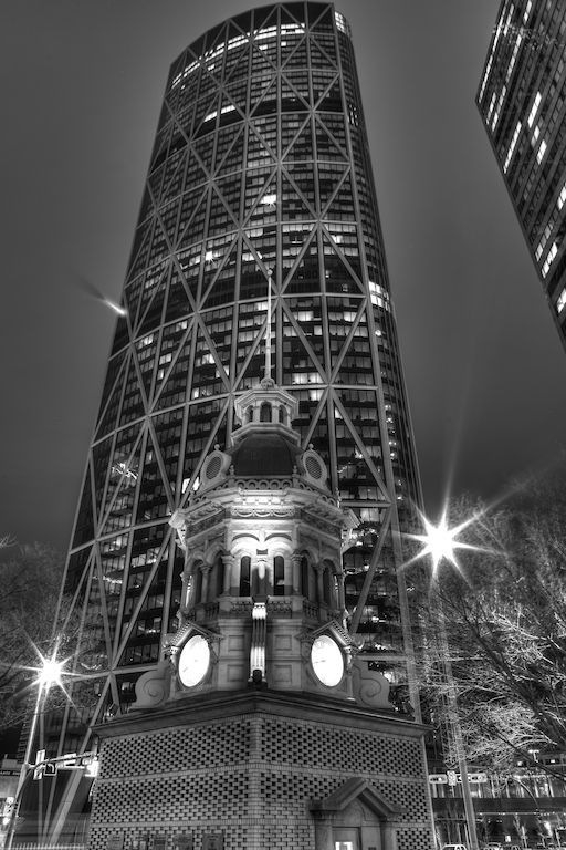 The Bow Building, Calgary, Nighttime, HDR, Black and white, YYC, Dusty Rivers Photography, dustyriversphotography.com