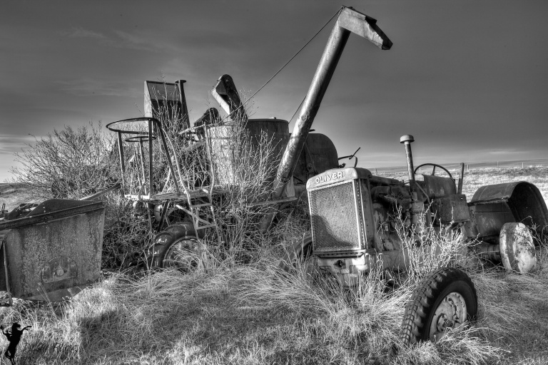Abandoned Farm equipment, black and white, Hussar, Alberta, Dusty Rivers Phtography, dustyriversphotography.com