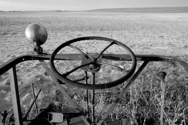 Abandoned Farm equipment POV, black and white, HDR, Hussar, Alberta, Dusty Rivers Phtography, dustyriversphotography.com