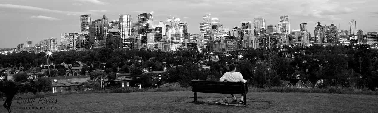 Calgary downtown, wide angle, black and white, eveinng, Dusty Rivers Photography, dustyriversphotography.com