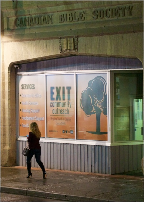 Canadian Bible Society, Exit Community Outreach, Downtown Calgary, night time, YYC, Dusty Rivers Photography, dustriversphotography