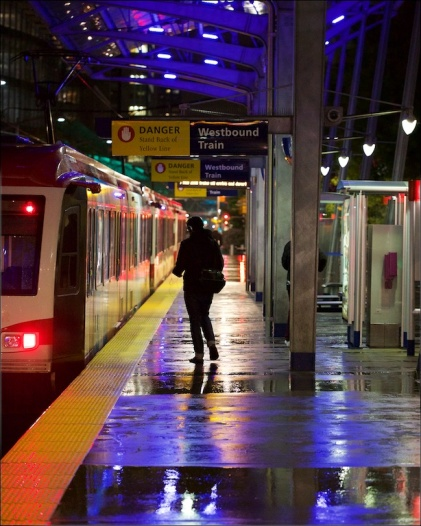 Stranger getting on a train, Downtown Calgary, C Train, nighttime, YYC, Dusty Rivers Photography, dustriversphotography