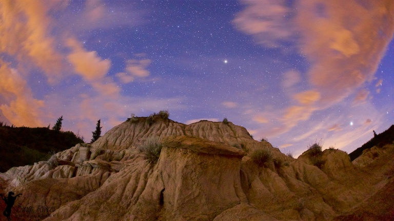 Horseshoe Canyon, Drumheller, badlands, night shot, stars, clouds, YYC, Dusty Rivers Photography, dustyriversphotography,com