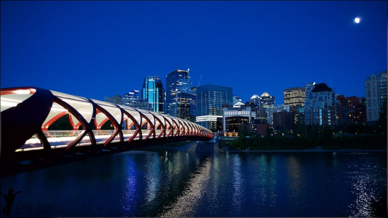 Peace Bridge, Downtown Calgary, night shot, YYC, Dusty Rivers Photography, dustyriversphotography,com
