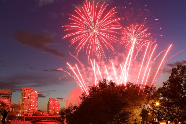 Canada Day Fireworks 5, Canada Day, Fireworks, Calgary, July 1 2016, Downtown, YYC, Dusty Rivers Photography, dustyriversphotography.com