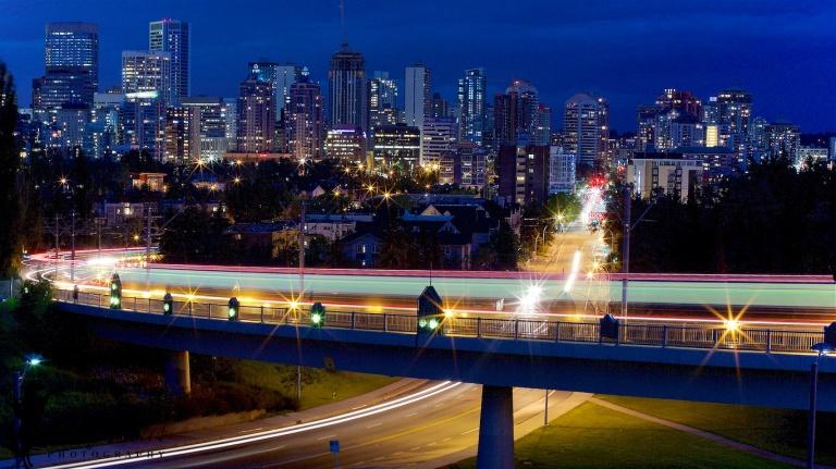 Calgary Downtown, LRT, Calgary LRT, nighttime, long exposure, Calgary, YYC, Dusty Rivers Photography, dustyriversphotography.com