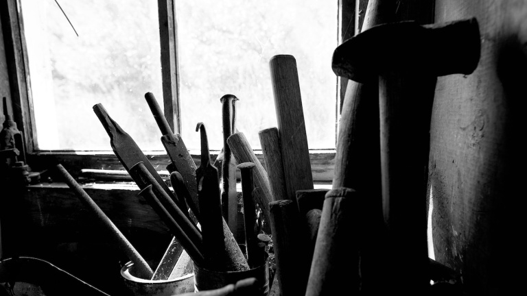 Blacksmiths tools, files, hammers, black and white, Bar U Ranch, Alberta, Canada, Dusty Rivers Photography, dustyriversphotography.com