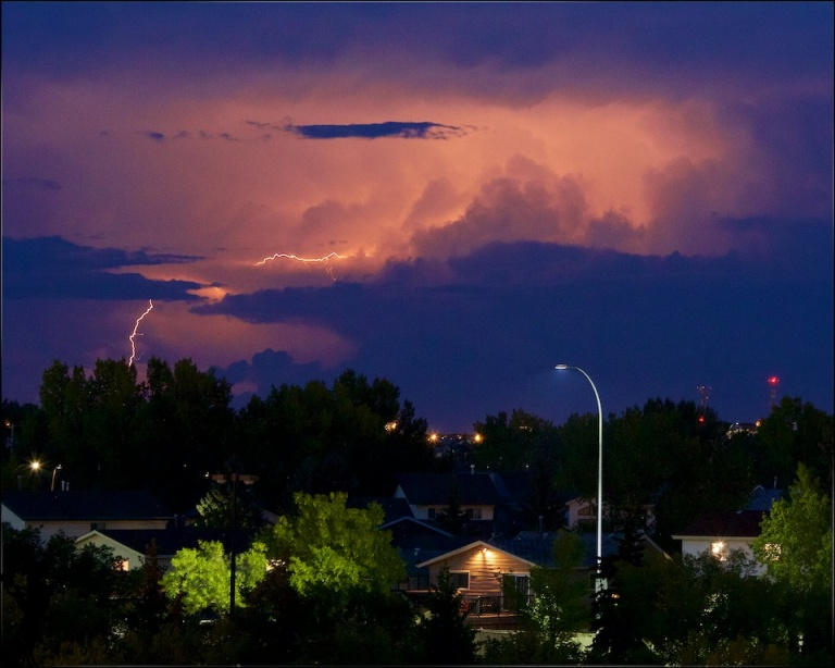 Lightning bolt, sheet lightning, North East Calgary, Alberta, Canada, Dusty Rivers Photography, dustyriversphotography.com,