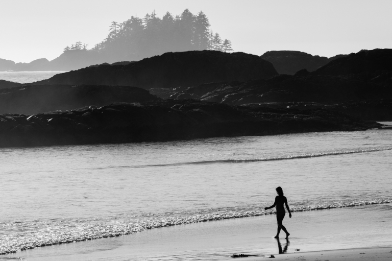 Entering the Water, Tonquin beach, Tofino beach, black and white, swimming, Tofino, BC, Dusty Rivers Photography, dustyriversphotography.com