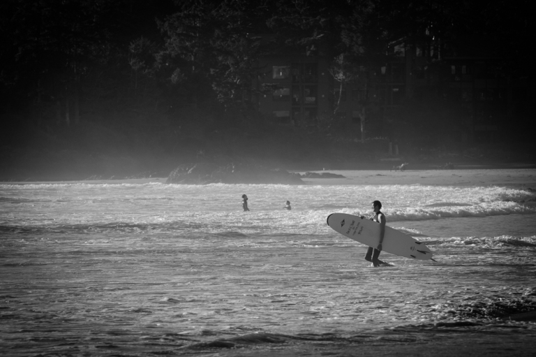 Surfing 2, Chesterman beach, Tofino beach, black and white, Tofino, BC, Dusty Rivers Photography, dustyriversphotography.com