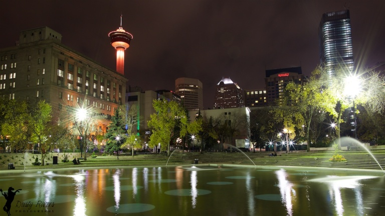 Downtown Calgary, Foggy Night, Olympic Plaza, Calgary Tower, Calgary, YYC, long exposure, Dusty Rivers Photography, dustyriversphotography.com