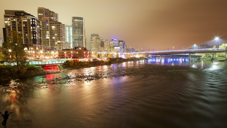 Downtown Calgary, Foggy Night, Bow River, Calgary, YYC, long exposure, Dusty Rivers Photography, dustyriversphotography.com