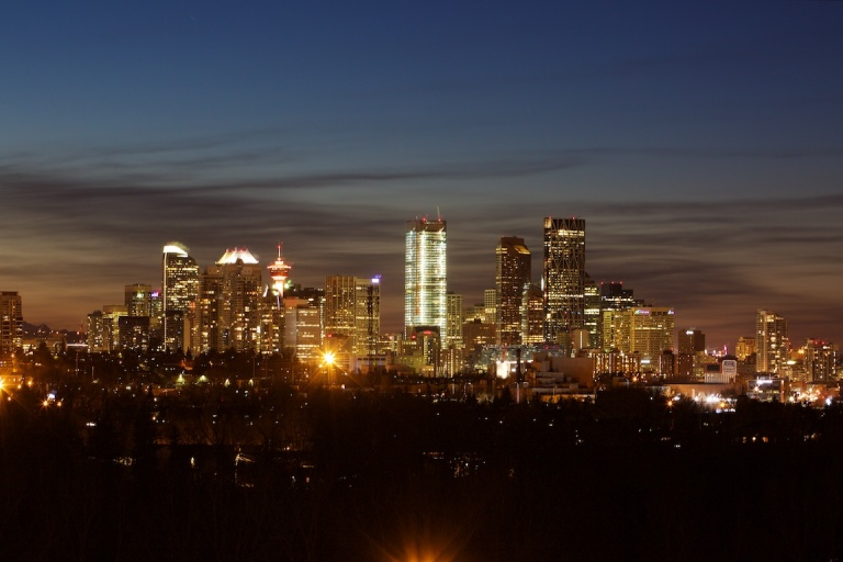 Calgary Skyline, nighttime, zoom, YYC, Dusty Rivers Photography, dustyriversphotography.com