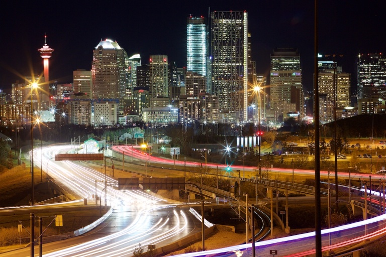 Calgary Skyline, Memorial Drive, C Train, nighttime, zoom, lomg exposure, YYC, Dusty Rivers Photography, dustyriversphotography.com