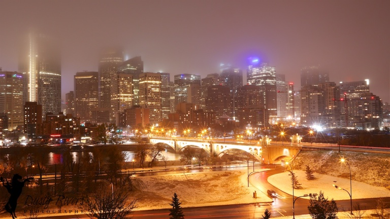Downtown Calgary, Foggy Night, Bow River, Centre Street Bridge, Calgary, YYC, long exposure, Dusty Rivers Photography, dustyriversphotography.com