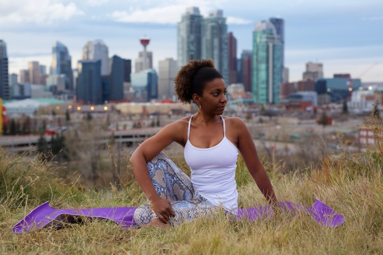 Yolande, Yoga Poses, Yoga, downtown, Calgary, YYC, Dusty Rivers Photography, dustyriversphotography.com