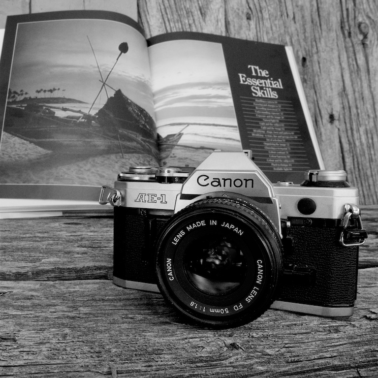 Canon ae 1 canon 50mm 1 8 lens film camera black and white